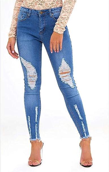 Pantalones Vaqueros De Mujer Ripped Skinny Pantalones Denim ...