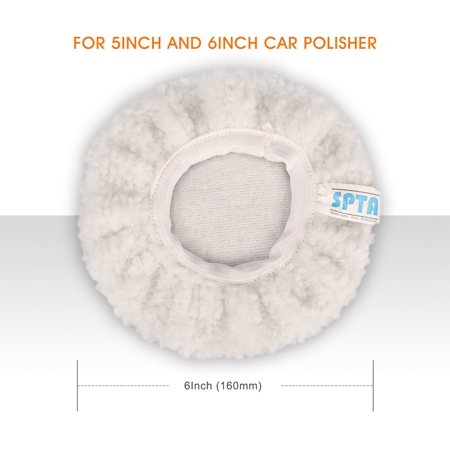 5 to 6 Inch SPTA Car Polisher Bonnet Polishing Bonnet Pad Max Waxer Pads for Most Car Polishers Pack of 5Pcs