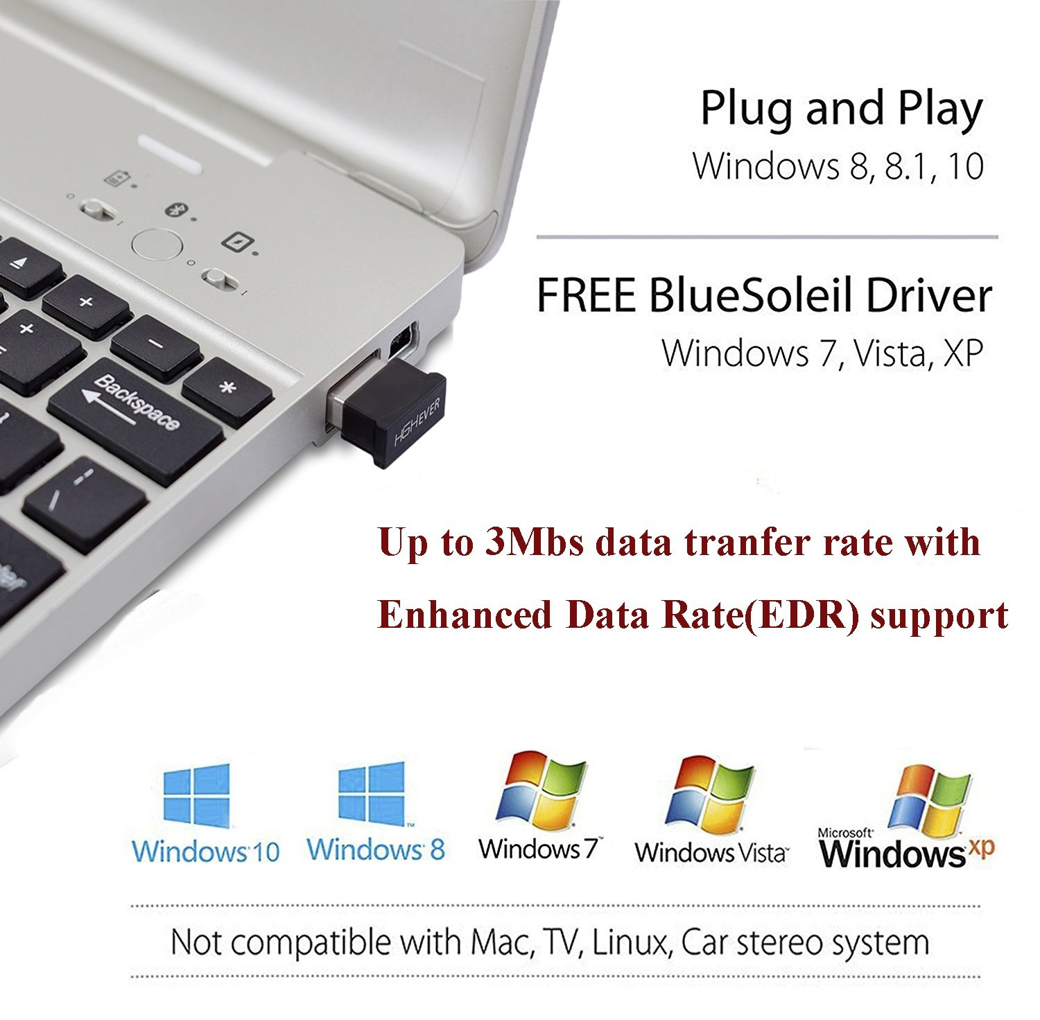 Bluetooth USB Adapter, 4.0 Bluetooth Low Energy 2.4Ghz Range Wireless USB Dongle Adapter for PC, Windows 10/8.1/8/7, Vista/XP by HIGHEVER (Image #3)