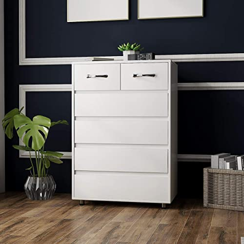 6 Drawers Dressers RASOO Chest of Drawer Bedroom Cabinet Tall Storage Nightstand Sidetable
