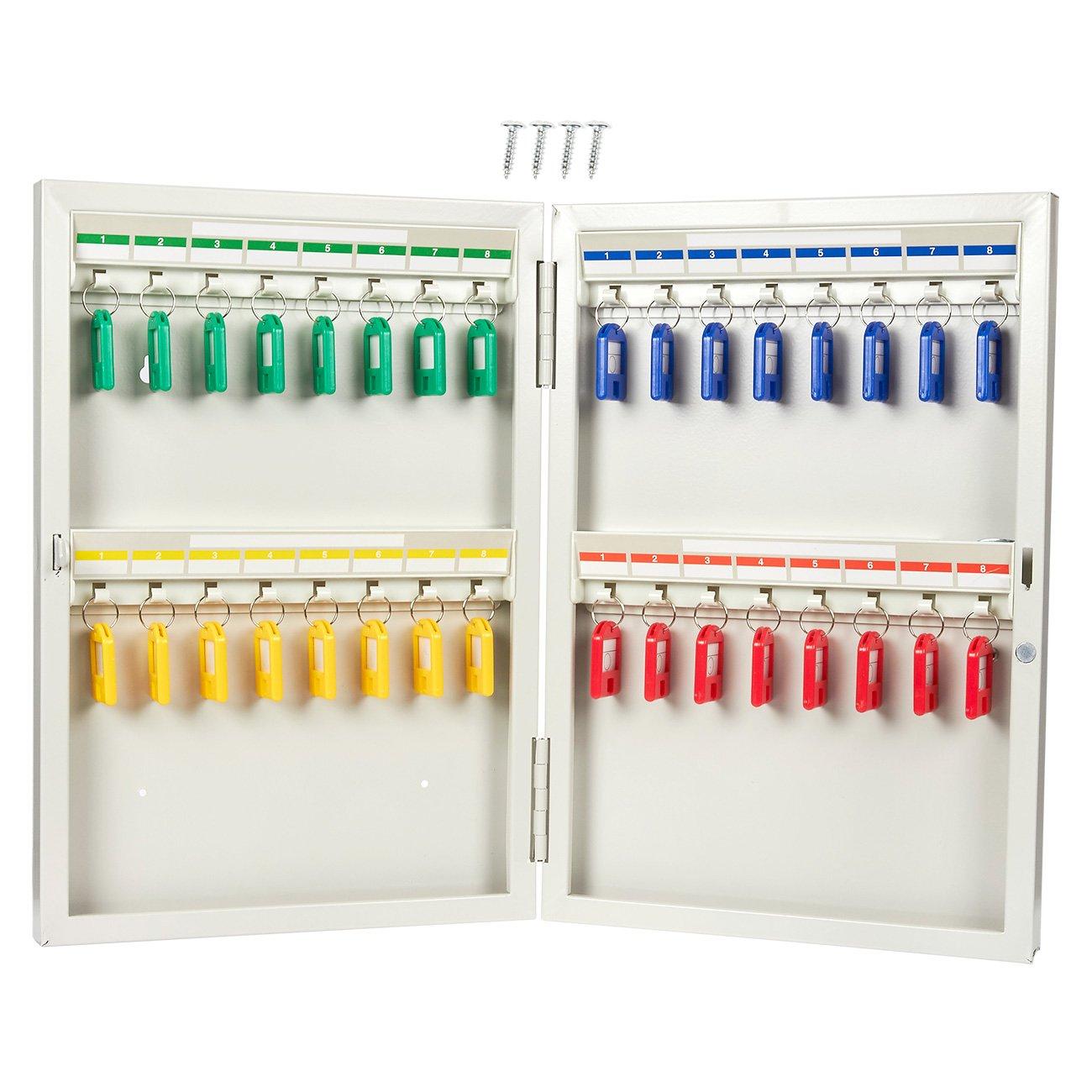 Key Cabinet - Steel Key Storage Locker - Wall Mounted Key Holder Box for 32 Keys, Includes 32 Key Tags, 10.25 x 15 x 2 Inches by Juvale
