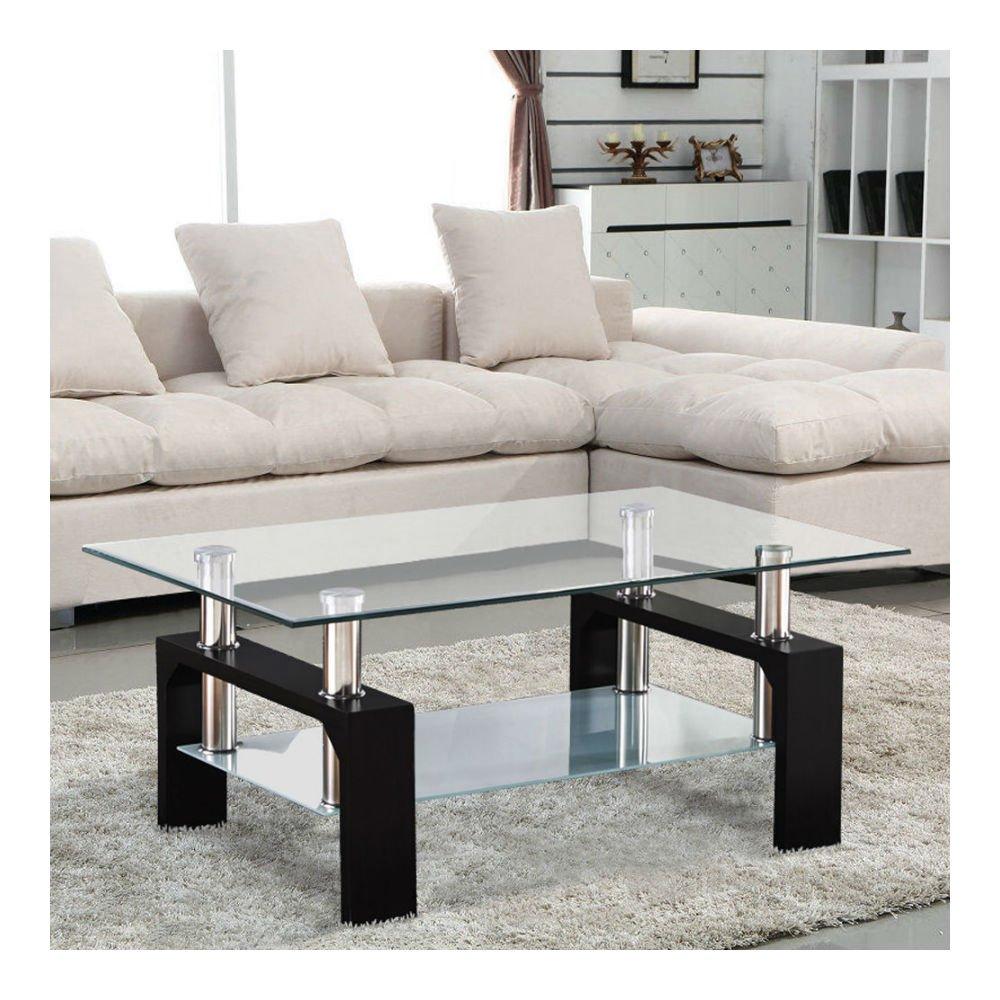 Amazon Com Modern Rectangular Black Glass Coffee Table Chrome Shelf