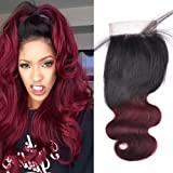 16inch Brazilian Body Wave Free Part 4x4 Lace Closure with Baby Hair Bleached Knots Ombre Color 1b/99j Red Burgundy Unprocessed Human Hair
