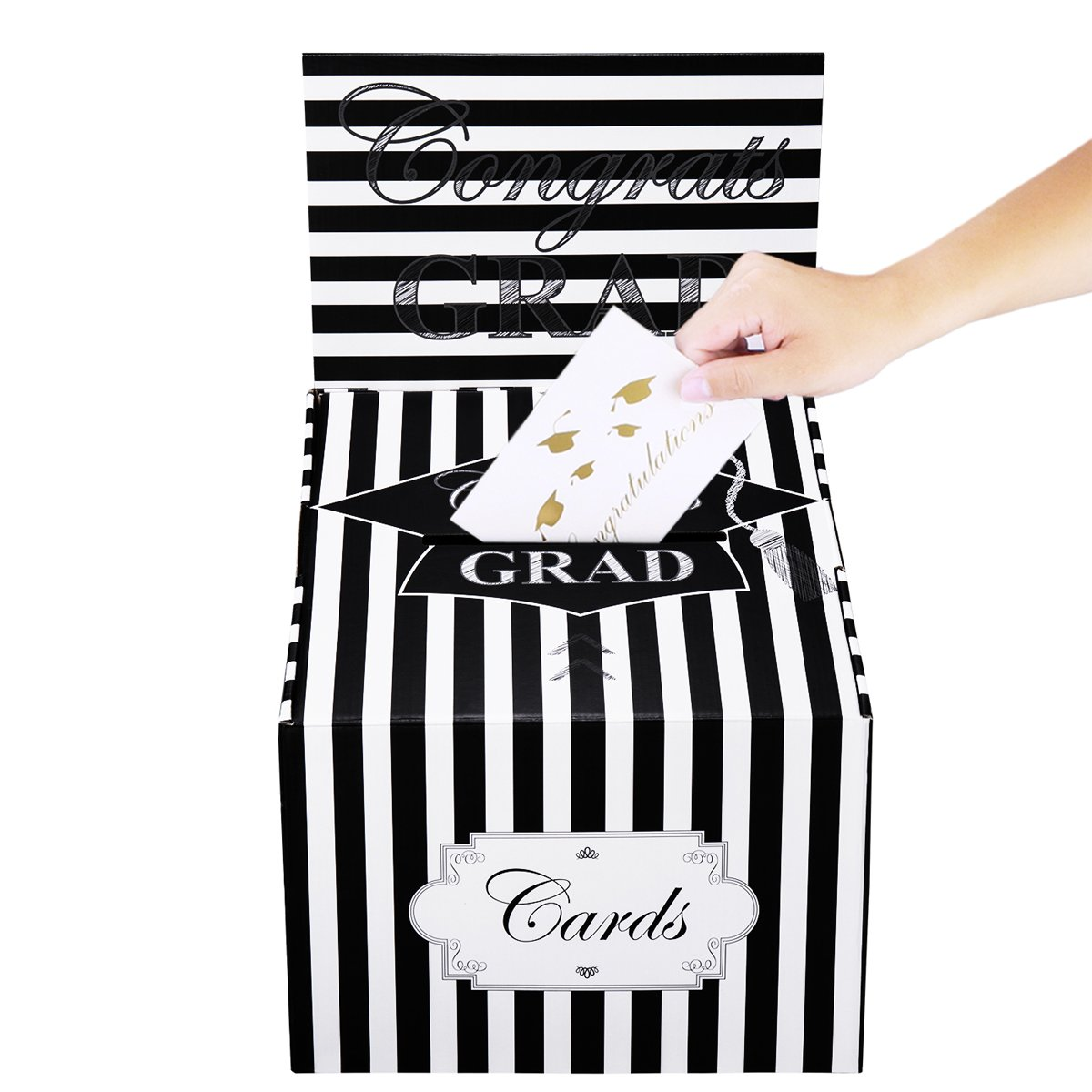 Cualfec Graduation Card Box Durable Graduation Greeting Card Holder 12''x12''x12''x 8.5'' - Black & White Design