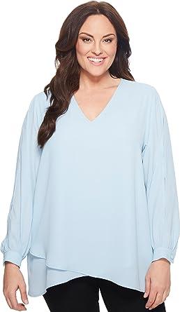 2b3a0058289ff Karen Kane Plus Women s Plus Size Split Sleeve Crossover Top Light Blue 1X
