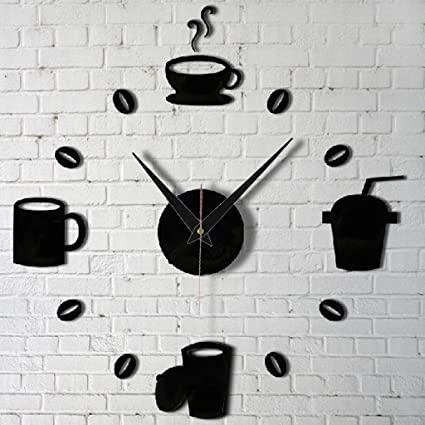 Deserve to Buy DIY Modern Home Decor Large Coffee Cup Decal Kitchen Wall Clocks Silent Watch