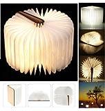Yuanj USB Rechargeable Magnetic Wooden Folding LED Night Light LED Folding Book Lamp - 2500mAh Lithium Batteries Desk Lamp Table Lamp, Decorative Lights - Warm White