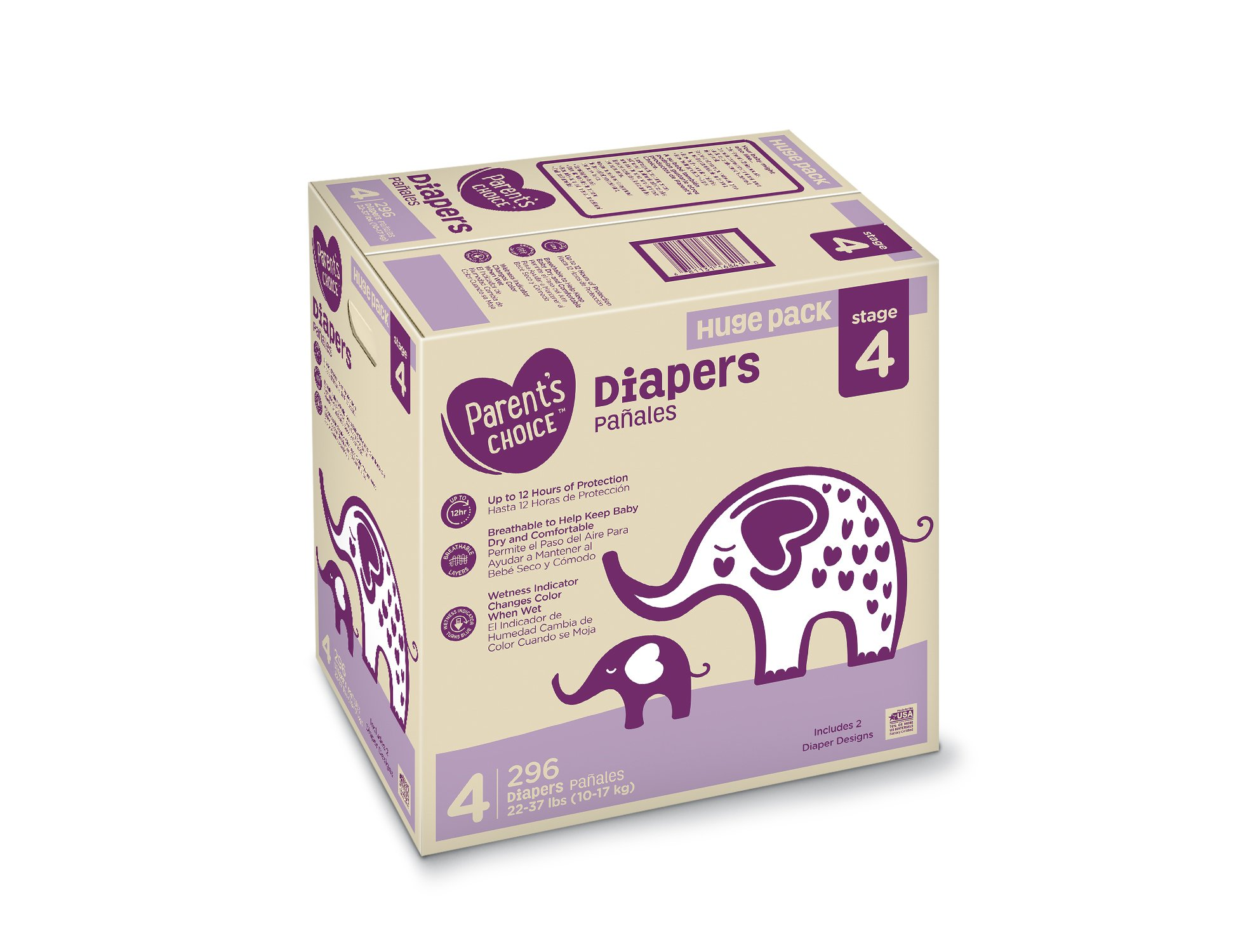Parent's Choice Diapers, Size 4, 296 Diapers