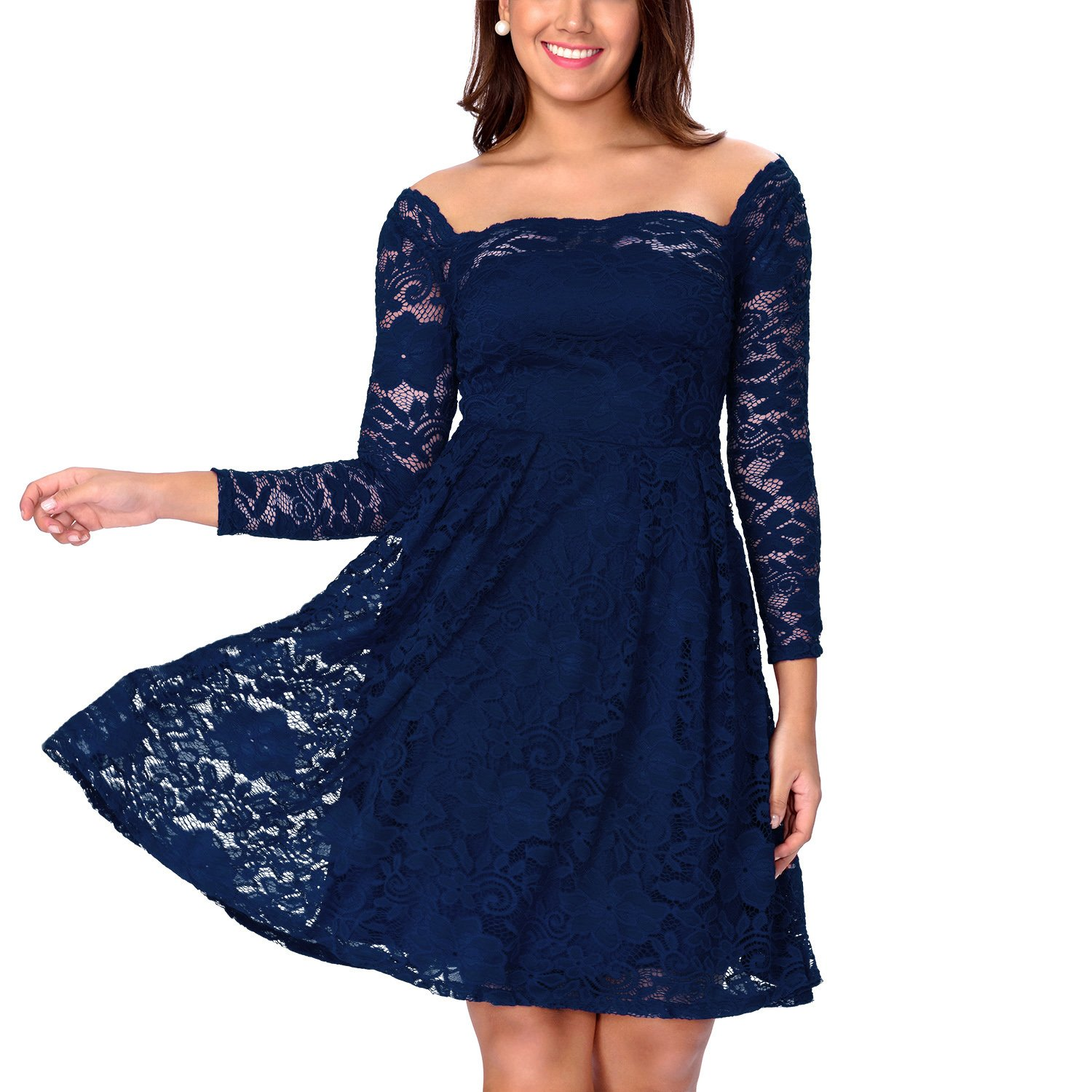 d3d7b05f481 One Sight Womens Off Shoulder Floral Lace Dress Long Sleeve Cocktail Formal  Swing Dress