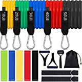 16pcs Resistance Bands Set with Handles Home Workout Equipment Exercise Bands for Working Out Door Anchor, Ankle Straps, Resistance Loop Bands