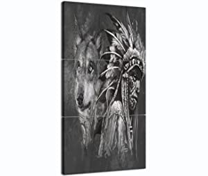 Native American Wall Art Canvas Paintings Modern Home Decor Native American Indian with Wolf Pictures for Living Room Artworks Black and White 3 Piece Framed Stretched Ready to Hang(14x20 Inch/3pcs)