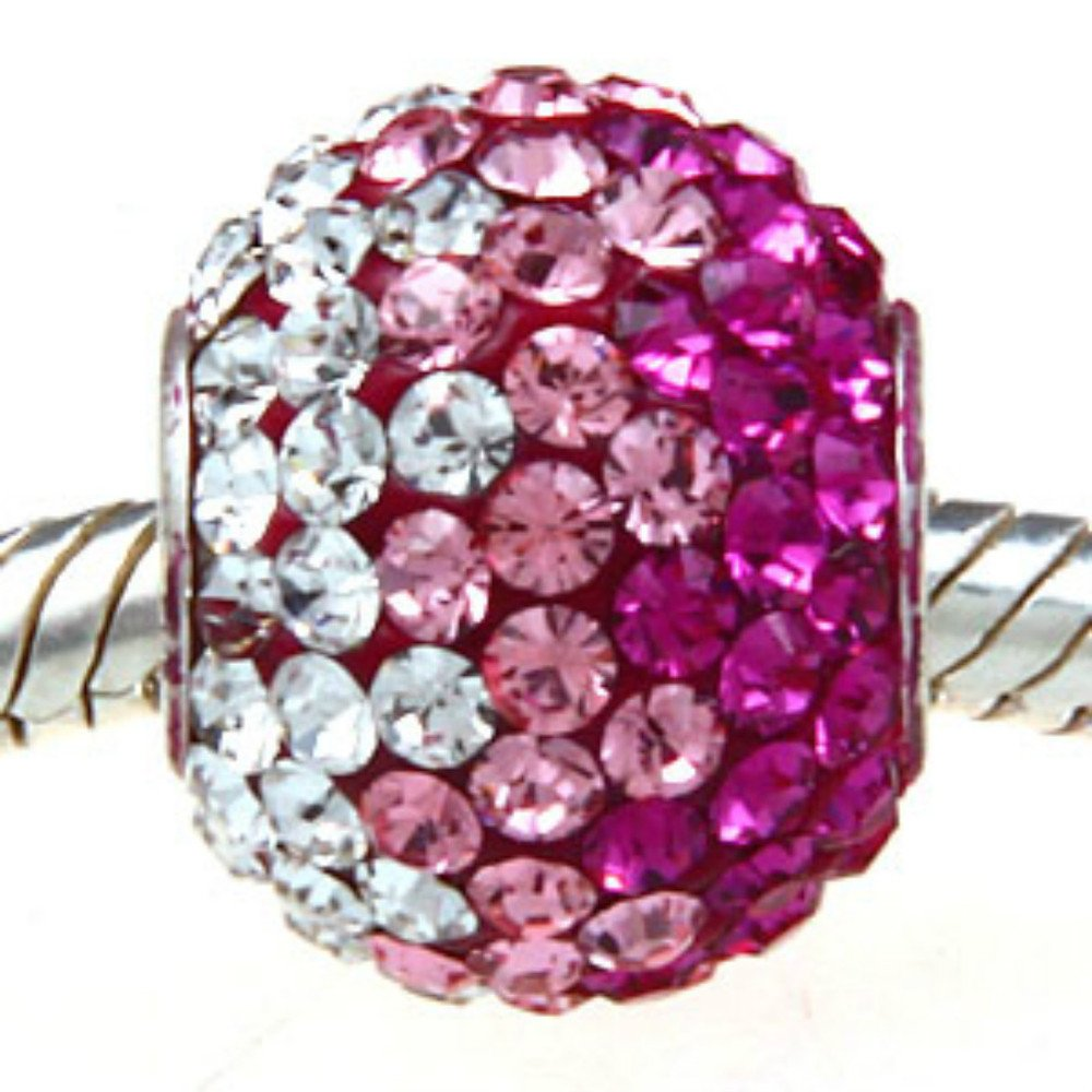 Clear-Pink-Ball-Crystal-Pave-Sparkle-Bling-925-Sterling-Silver-Bead