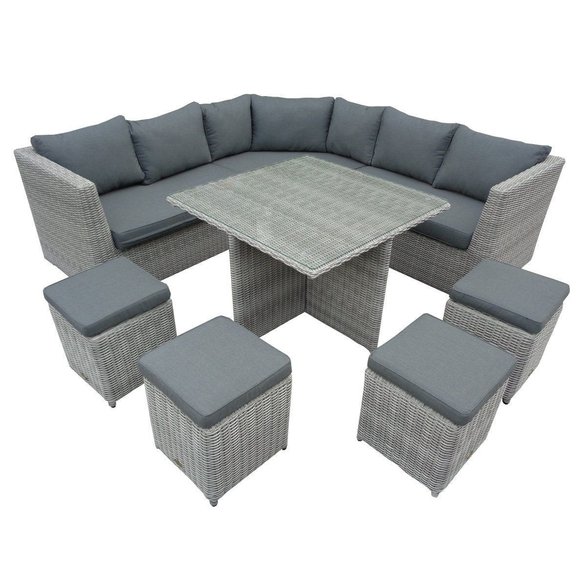 Garten-Lounge-Set 1 Ecksofa für 4 Personen, 4 Hocker, 1 ...