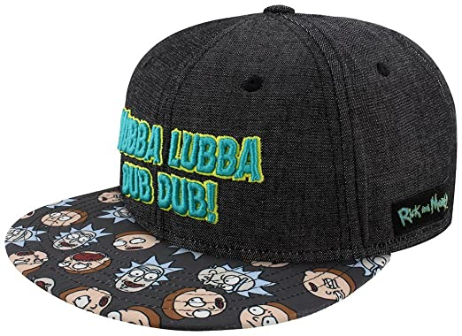 907b3da19a4 Image Unavailable. Image not available for. Color  Rick and Morty Wubba  Lubba Snapback Cap Black