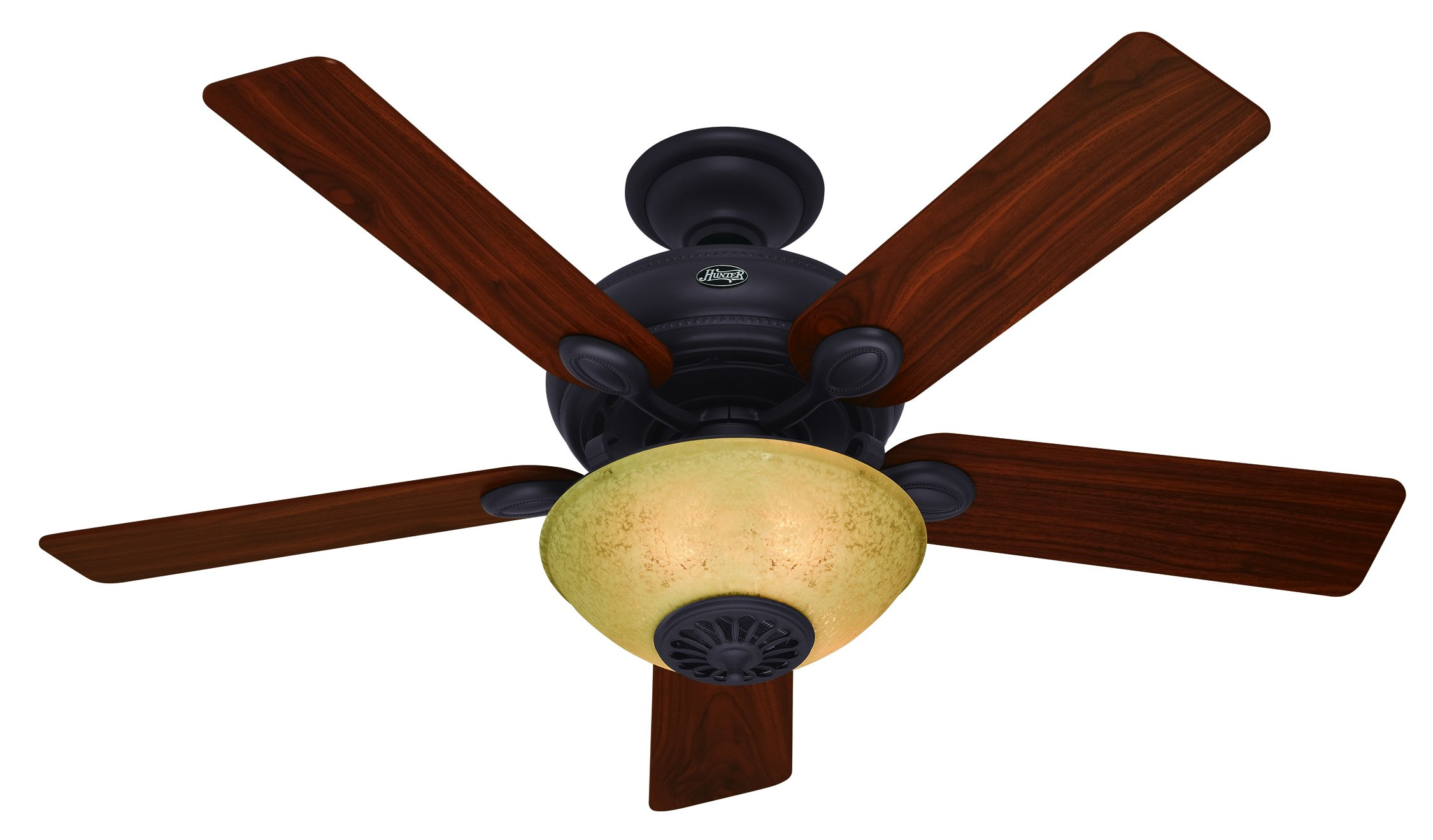 Hunter 59033 Westover Heater Fan 52-Inch New Bronze Ceiling Fan with Five Dark Walnut/Cherry Blades and Light Kit