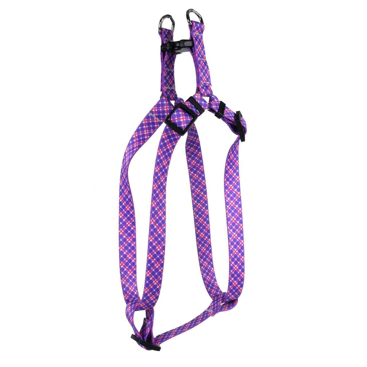 Yellow Dog Design Standard Step-in Harness, Purple & Pink Diagonal Plaid, Large 25'' - 40''