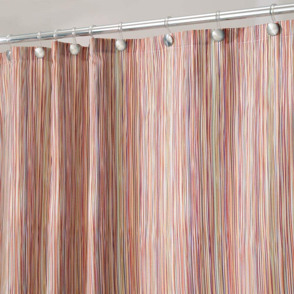 """mDesign Modern Sketched Line Print - Easy Care Fabric Shower Curtain with Reinforced Buttonholes, for Bathroom Showers, Stalls and Bathtubs, Machine Washable - 72"""" x 72"""" - Earthtone/Peach"""