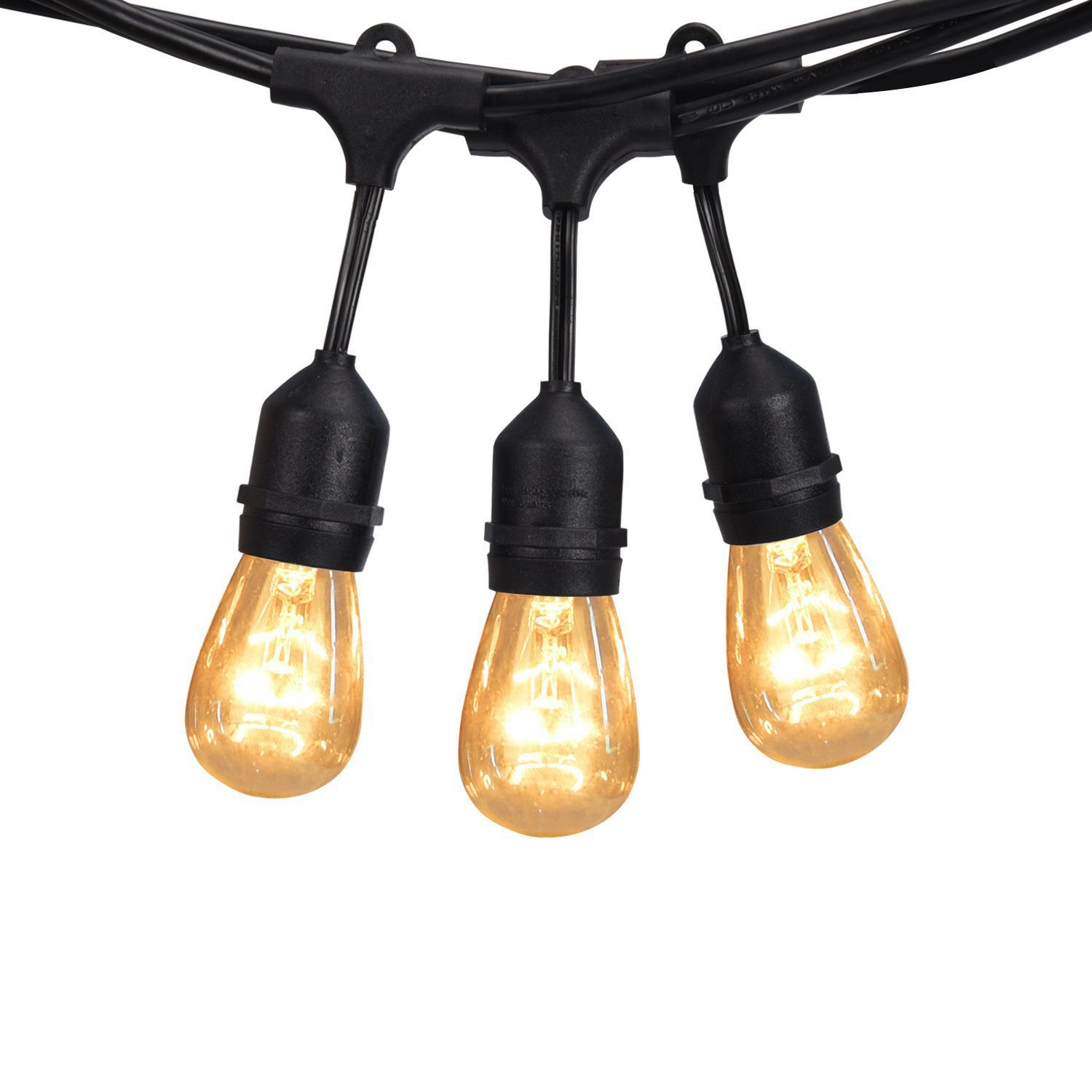 JACKYLED Outdoor String Lights 48ft Commercial Grade UL 18 Hanging Sockets 21 Bulbs Edison String Lights(3 Spare) Vintage Weatherproof for Patio Garden Porch