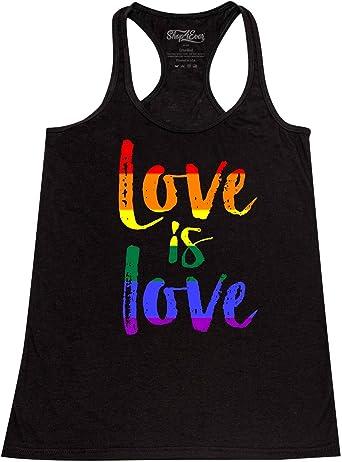 shop4ever Love is Love Womens Racerback Gay Pride Tank Tops Slim FIT