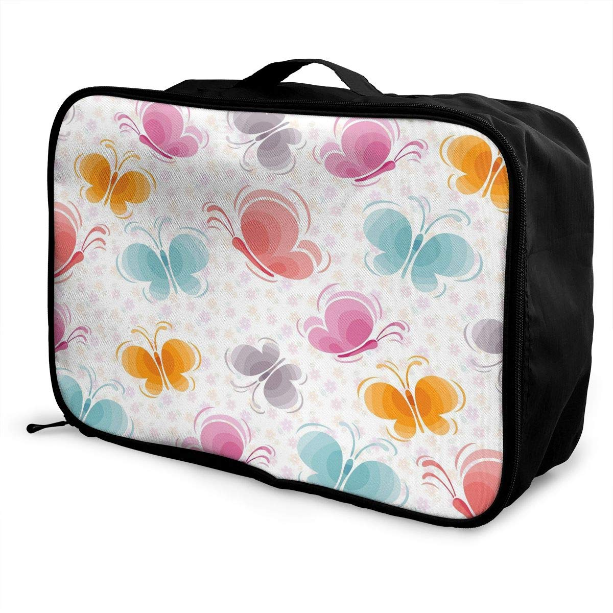 Travel Luggage Duffle Bag Lightweight Portable Handbag Colorful Butterfly Print Large Capacity Waterproof Foldable Storage Tote