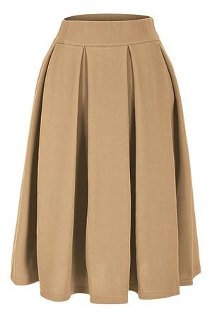 Elegant Stretch High Waist A-line Pleated Midi Skirt (L, Beige)