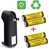 Garberiel 4Pcs 14500 Battery and Charger 1200mAh 3.7V Lithium Rechargeable Battery AA Batteries For Led Flashlight Torch