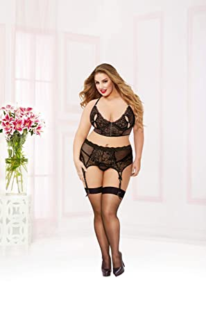 83f6b45e468ad Plus Size Three Piece Lace Peek A Boo Bra Underwire Lingerie Set at ...