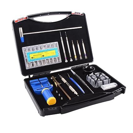 Ohuhu Kit de herramienta de reparación de relojes caso, profesional primavera Bar conjunto de herramientas