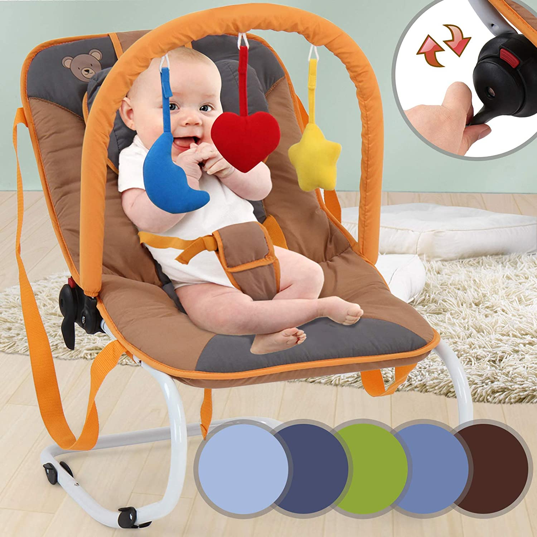 Hamaca para Bebé - Reclinable con Sistema de Bloqueo y Arnés de 3 Puntos, para Bebés de 6 a 12 meses, Ligera y Compacta, Color a Elegir - Silla Mecedora Bebé, Bouncer, Balancín