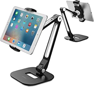 Tablet Stand, AboveTEK Long Arm Aluminum Ipad Stand, Folding with 360° Swivel Phone Clamp Mount Holder, Fits 4-11 inch Display Tablet/Phones for Kitchen Table Bedside Office Desk POS Kiosk Reception