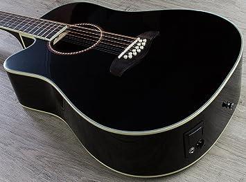 Oscar Schmidt acústica de 12 cuerdas guitarra eléctrica Negro zurdos od312ceblh