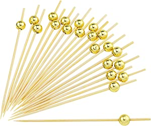 DLOnline 200 Counts 4.7 Inches Gold Pearl Fruit Sticks,Handmade Cocktail Picks,Sticks Wooden Toothpicks Party Supplies Cocktail Party,Gold Pearl,Fruit Party,Gold Fruit,Gold Cocktail,Wooden Fruit