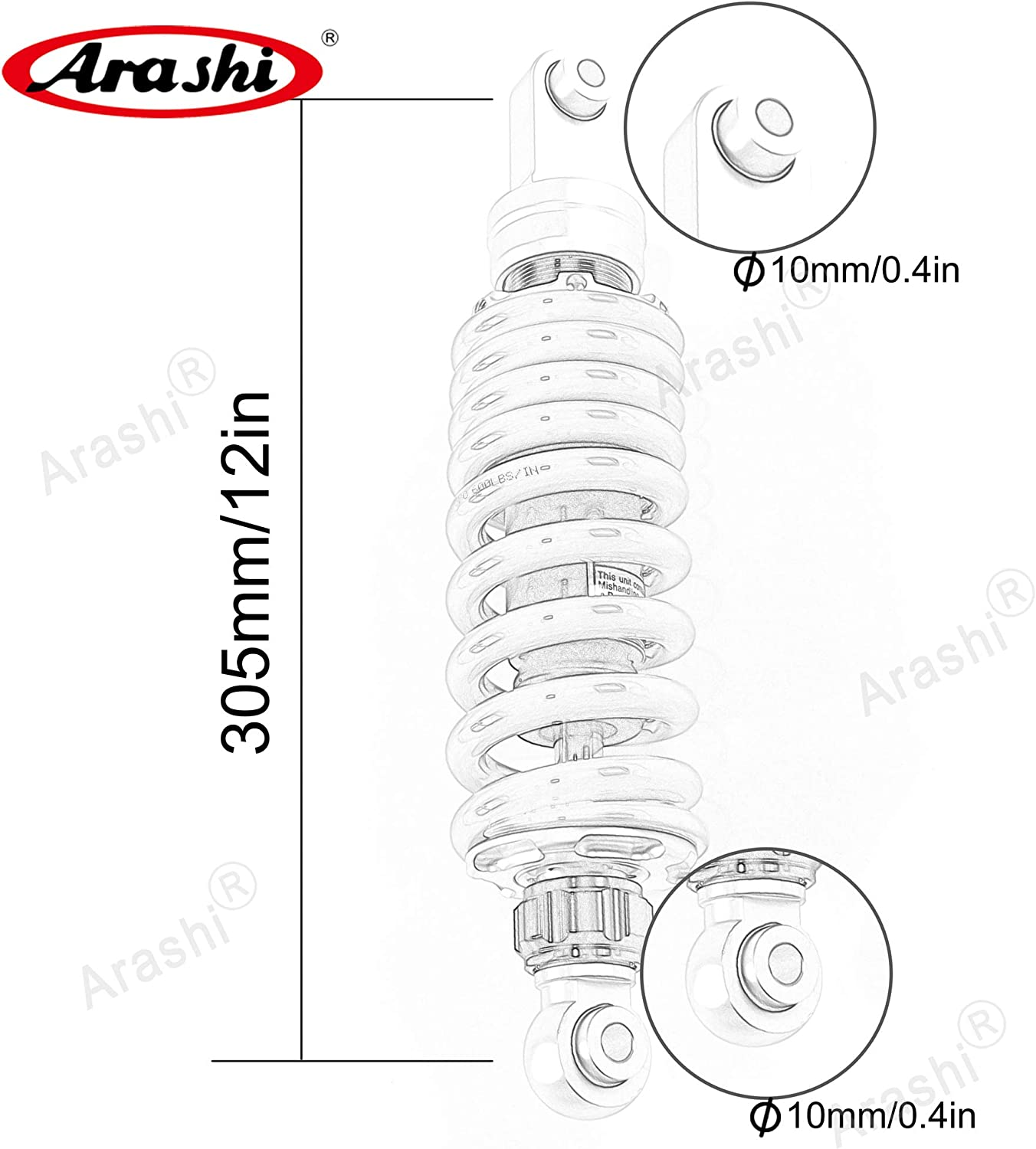Arashi 305mm //12 Shock Absorber Rear Suspension Universal for Honda NC700 NC 700 Motorcycle Replacement Accessories Gold 1 Pcs