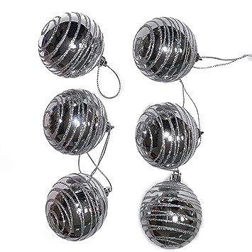 Pack de 6 bolas de Navidad plateado 6 cm: Amazon.es: Bricolaje y ...