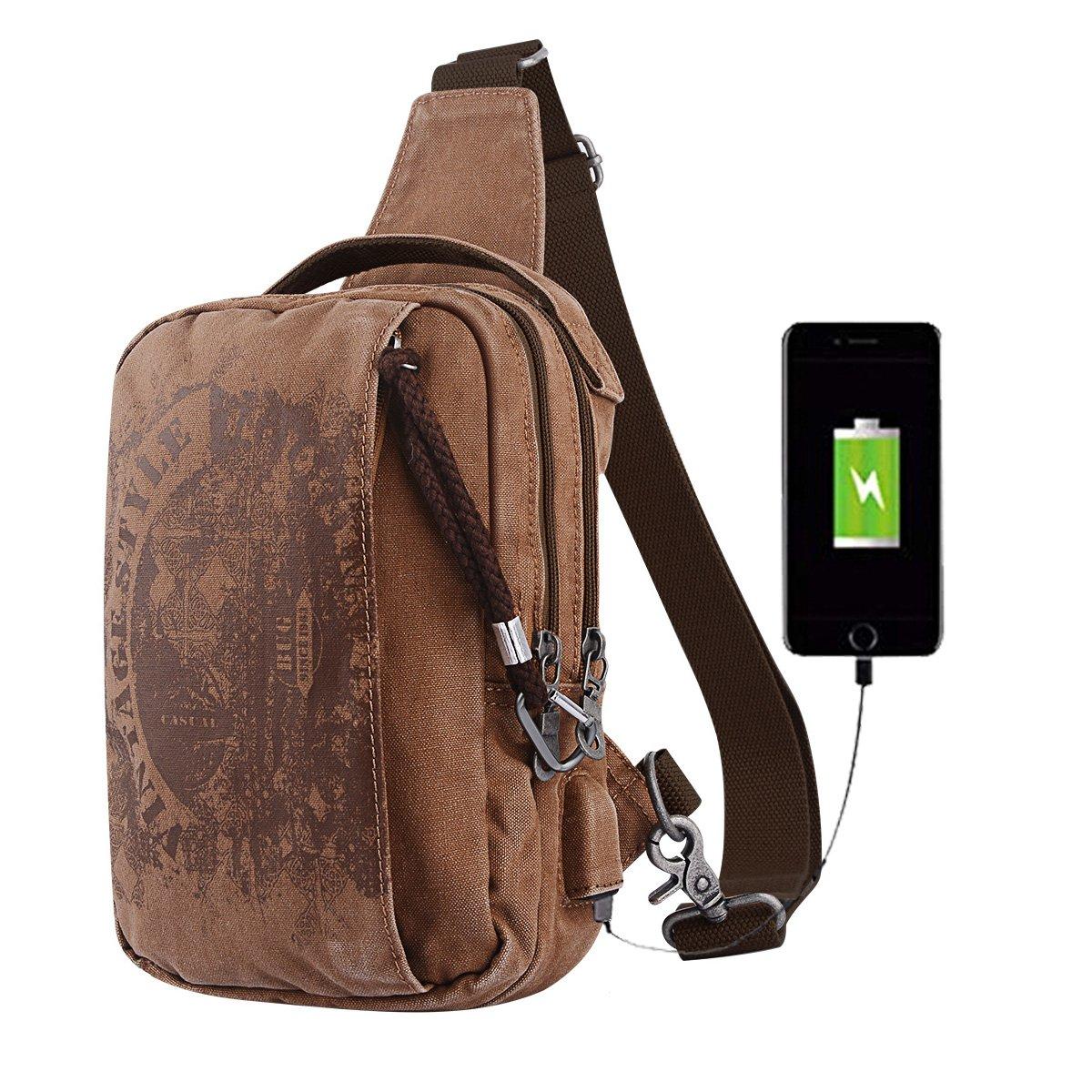 5ae12cdad4dd Amazon.com  Sling Backpack Anti-Theft Canvas Bag One Strap Crossbody  Shoulder Travel Sport Hiking Daypacks for Men Women USB Charging  Port(Khaki)  Sports   ...