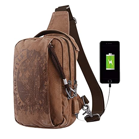 881b825d89 Sling Backpack Anti-Theft Canvas Bag One Strap Crossbody Shoulder Travel  Sport Hiking Daypacks for