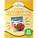 CreateFun Noun Flash Cards - 50 Educational Vocabulary Builder Picture Cards - 5 Learning Games - Toddlers, Preschool Teacher