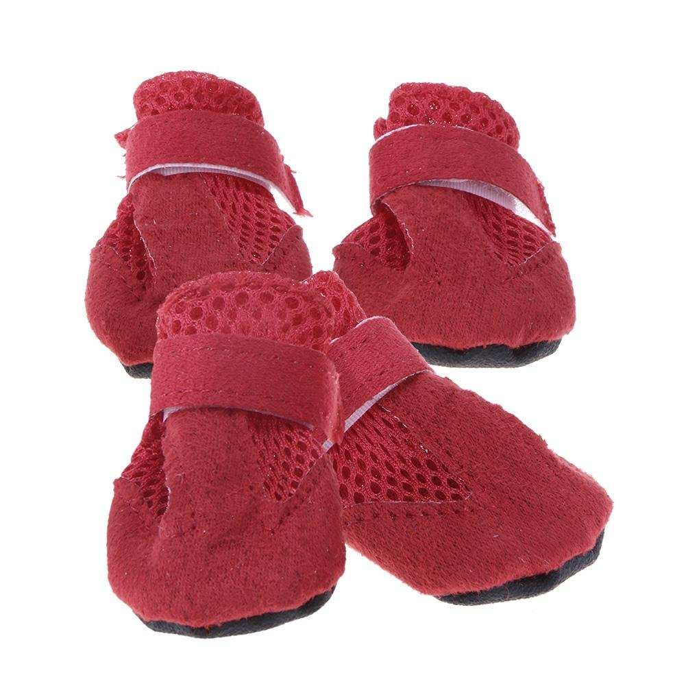Demiawaking Protection Bottes pour Chien Respirant antidérapant Chaussures de Chien Patte protecteurs en Simili Daim Chaussures de Sport pour Chiens de Petite et Moyenne Taille, Lot DE 4