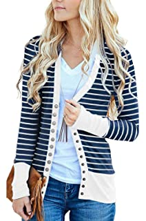 aa6f8d90d8 RichCoco Women s Striped Snap Button Down Open Front Long Sleeve Contrast  Color Casual Cardigans Sweaters