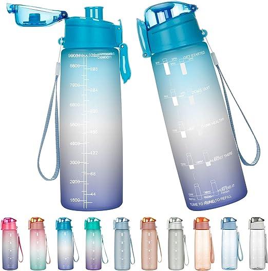 Bouteille avec Traqueur de Marqueur de Temps pour Sport 800ML Water Bottle Gourde Sport Gourde Reutilisable sans BPA Anti-Fuite Lave-Vaisselle Gym GHONLZIN Bouteille deau Voyage