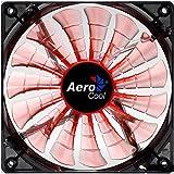 Aerocool SHARKO14 - Ventilador gaming para PC (14 cm, 15 aspas, LED, ultrasilencioso, antivibración, 12 V / 7 V), naranja
