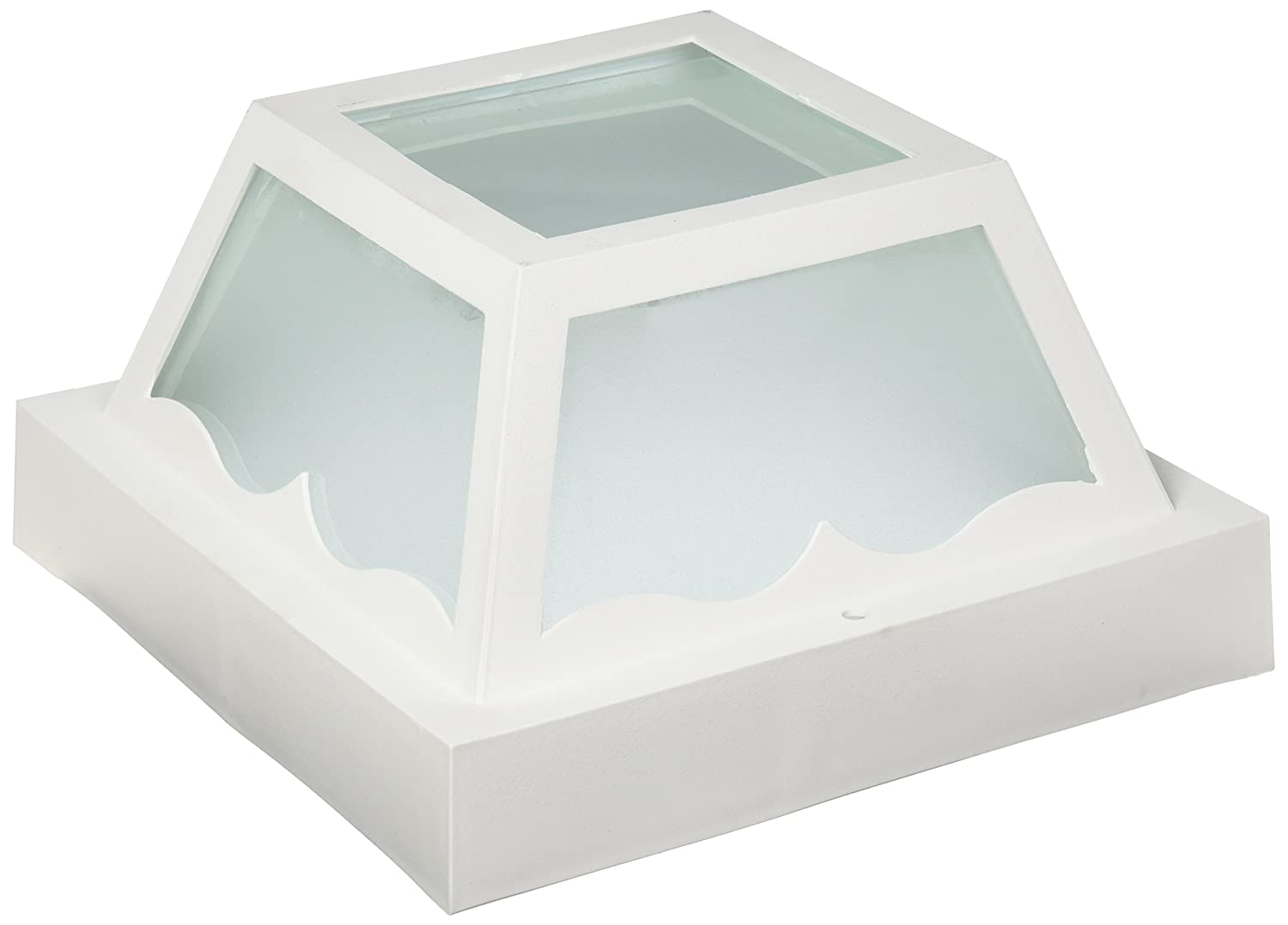 White Large Nuvo SF77//879 Poly Frame Carport Flush Mount with Frosted Acrylic Panels