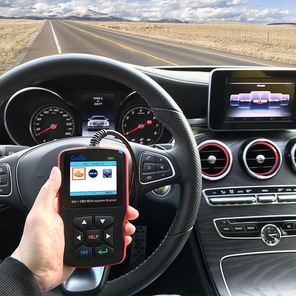 Creador C501 vehículo escáner lector de código de OBDII, OBD2/EOBD Multisistema diagnóstico ABS/SRS/DSC/motor/transmisión automática/EPS/aire acondicionado/herramienta de análisis instrumento con lector de tarjetas para BMW/Mini: Amazon.es: Coche y moto