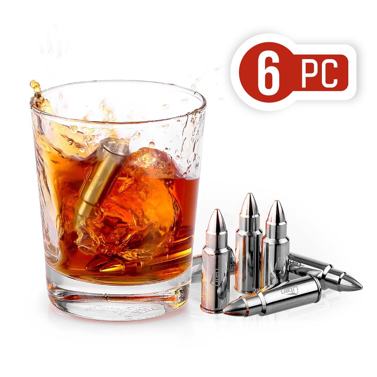 Uten Whisky Steine (6 Stü ck) aus Edelstahl wiederverwendbare Eiswü rfel Kü hlsteine