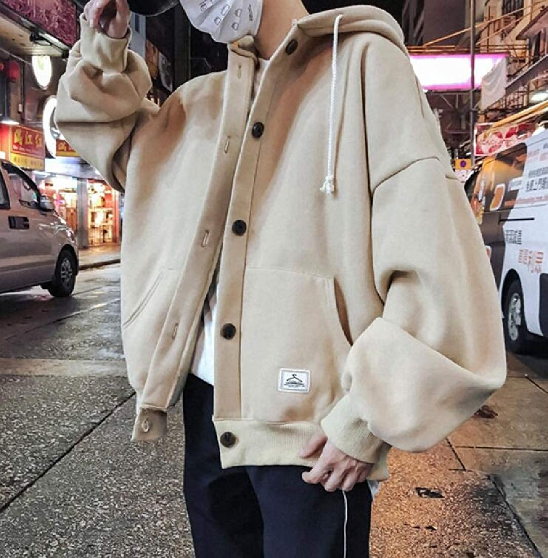 BYWX Men Button Up Loose Fit Fashion Solid Coat Hooded Sweatshirt