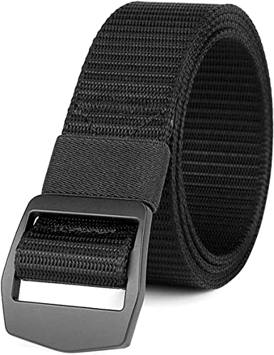 Junda Outdoor Men Belt Nylon 1.5 Heavy Duty Webbing Belt Adjustable Military Style Nylon Belts with Metal Buckle