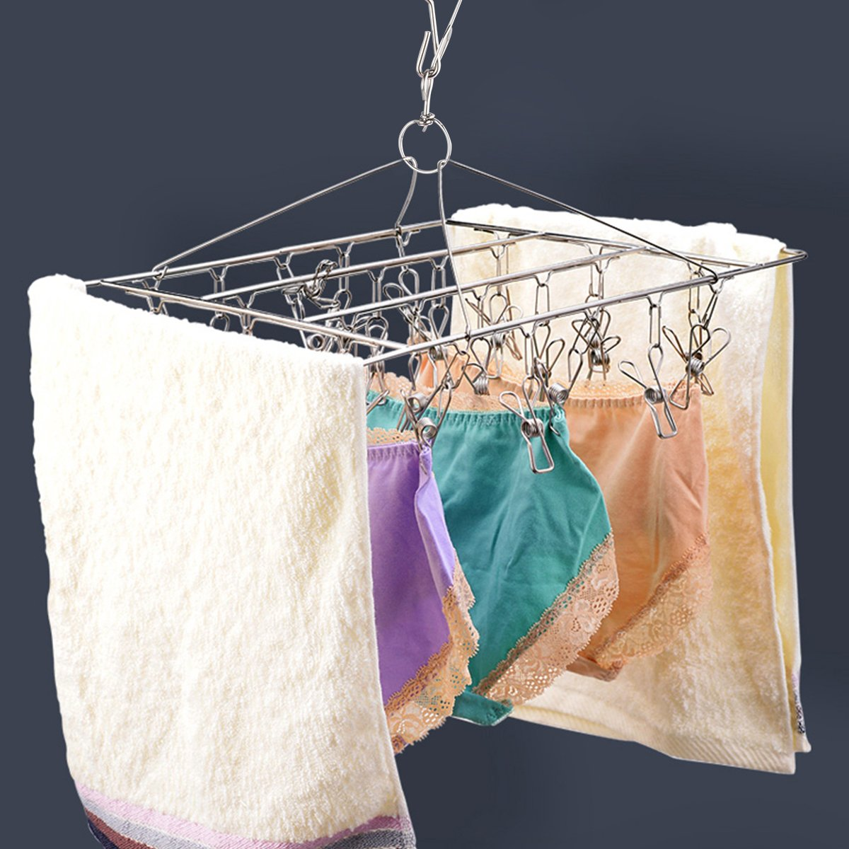 asciugamano mollette antivento per asciugare stendibiancheria con 36/pinze in acciaio INOX calzini Borui vestiti biancheria intima