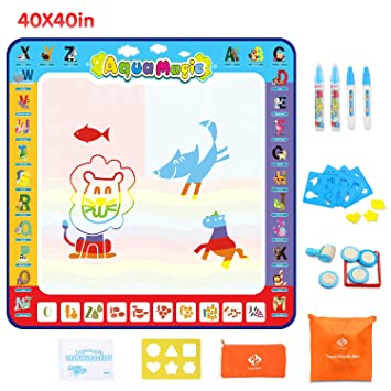 Buy Water Drawing Mat 40x40 Inch Large Water Doodle Mat With Storage Bag Aqua Magic Doodle Mat With 26 Accessories Educational Toys And Idea Gifts For Boys Girls Age Of 2 3