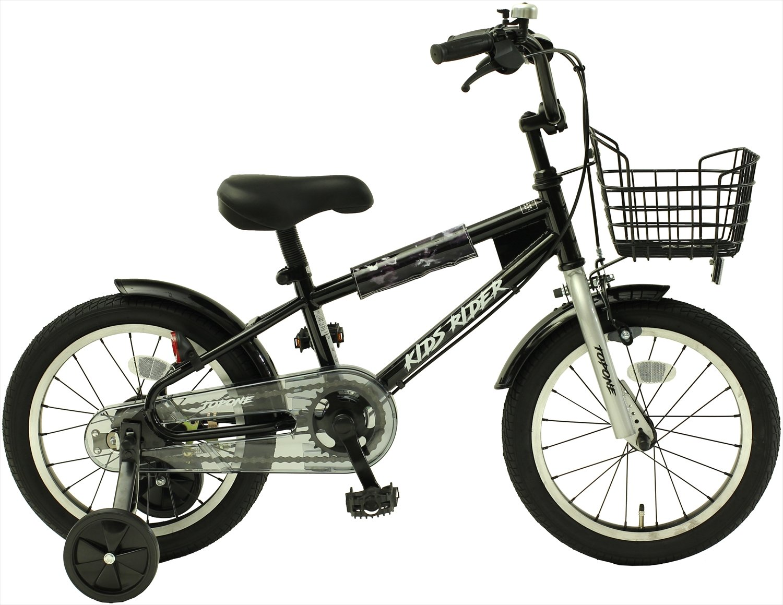 TOPONE キッズ 16インチ BMX風 子供用自転車 補助輪 前カゴ KidsRider ブラック B07BSB9D6C