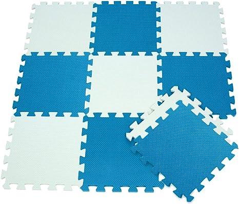 410387 Alfombra puzzle goma EVA 10 pz juego modular 29.5 x 29.5 cm BICOLORE Verde